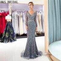 H & S свадебное платье с v образным вырезом и длинным рукавом вечернее платье «русалка» с кристаллами и бисером vestido сексуальное роскошное пла
