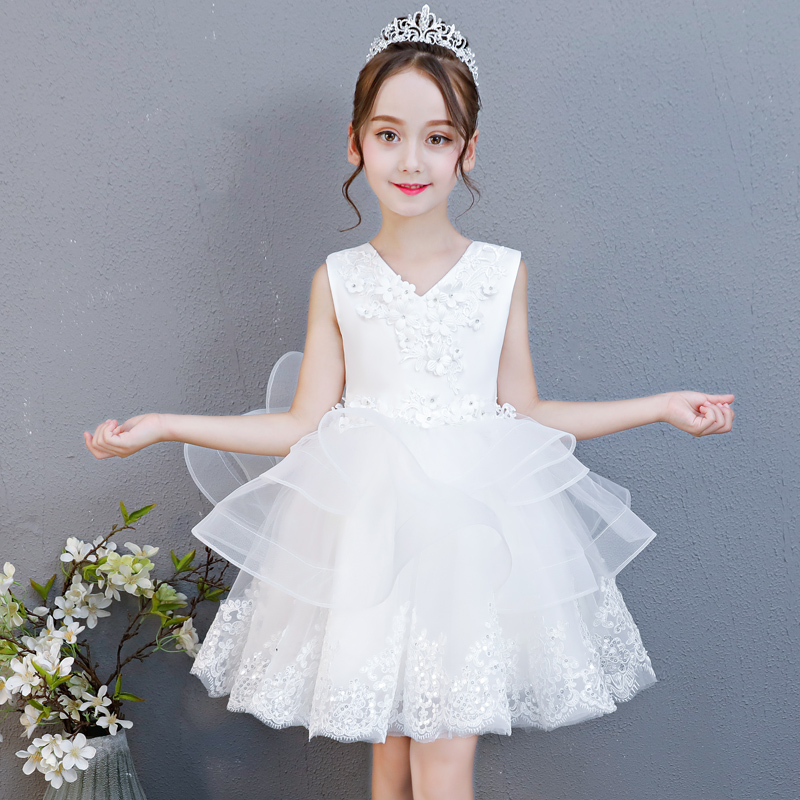 2018 Summer New Kids Babies White Color Birthday Wedding Party Ball Gown Princess Lace Dress Children Toddler Tutu Flowers Dress summer new high quality baby kids birthday wedding party princess lace short dress little girl toddler evening party tutu dress