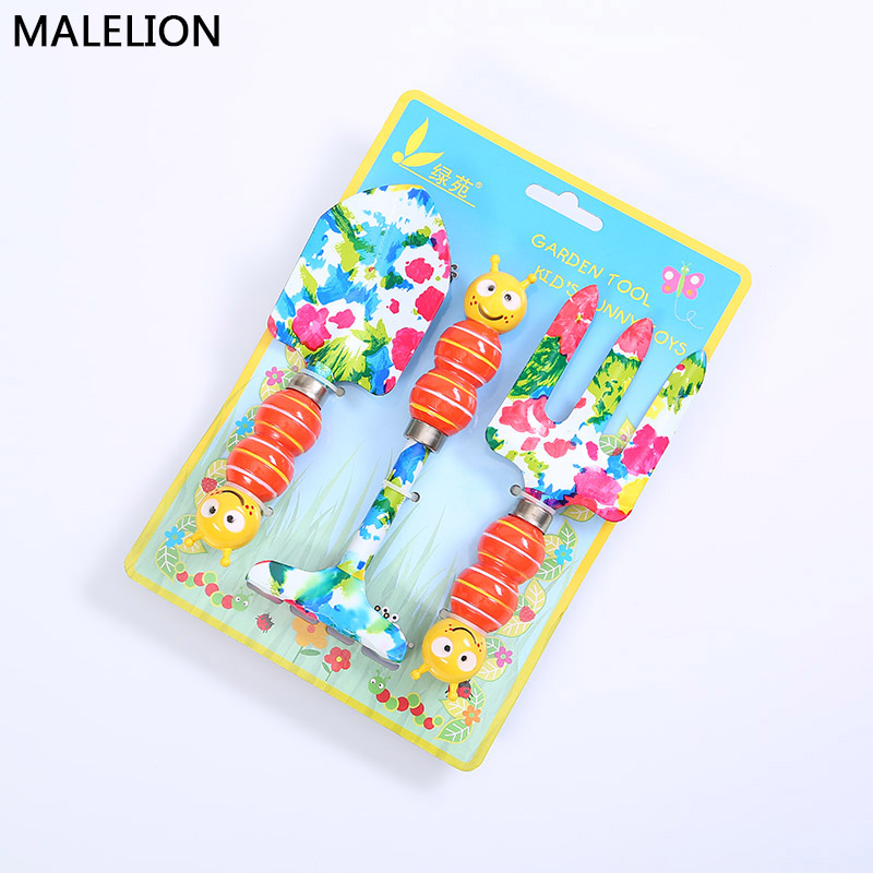Multifunctional Gardening Potted Tools Mini Children Beach Toys Cartoon Print Kids Planting Flowers Small Shovel Garden Tool Set three piece tool set gardening tools shovel rake hoe suits flower planting vegetables and flowers gardening