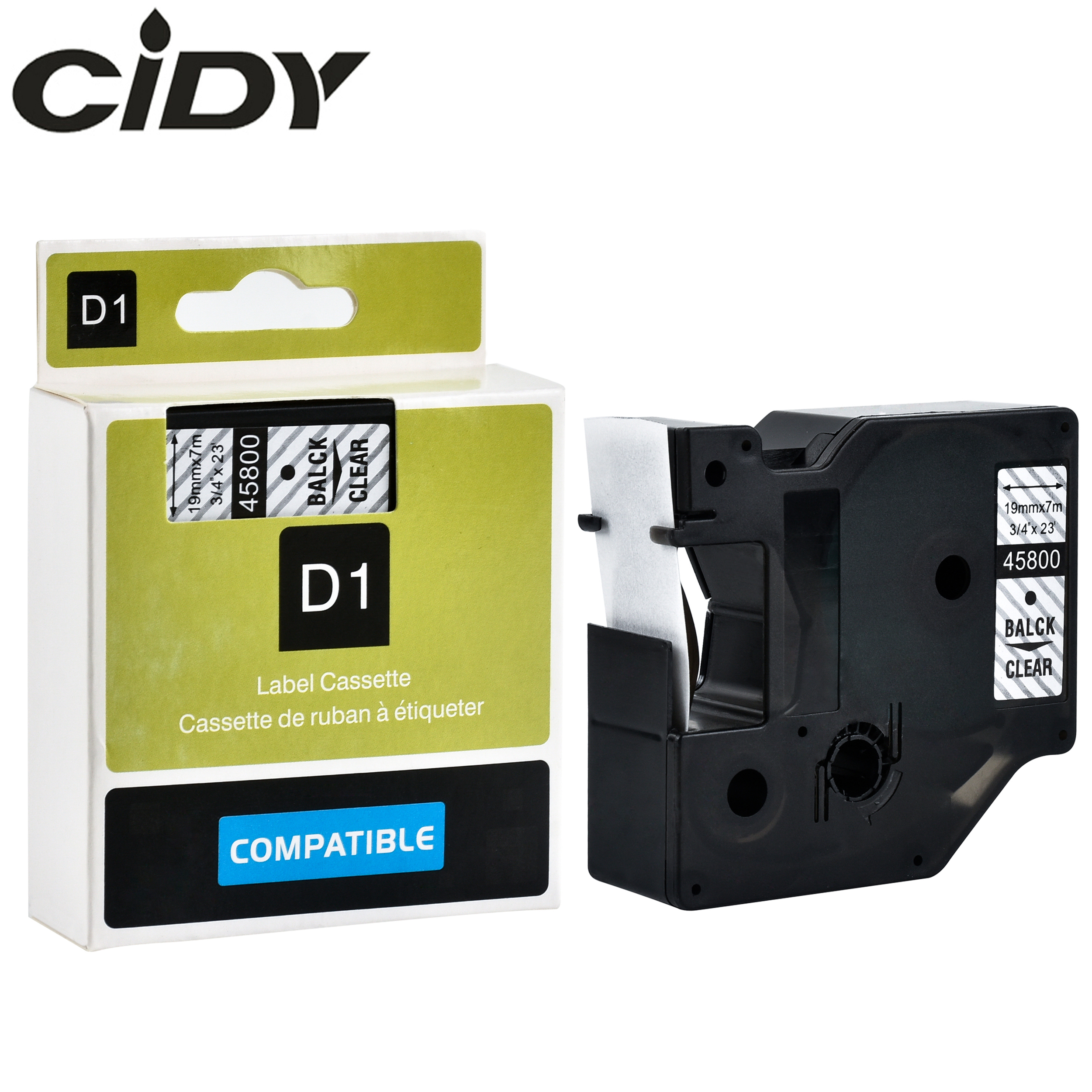 CIDY 10pcs Black on Clear 45800 19mm 7m for dymo label printers compatible label tapes FOR