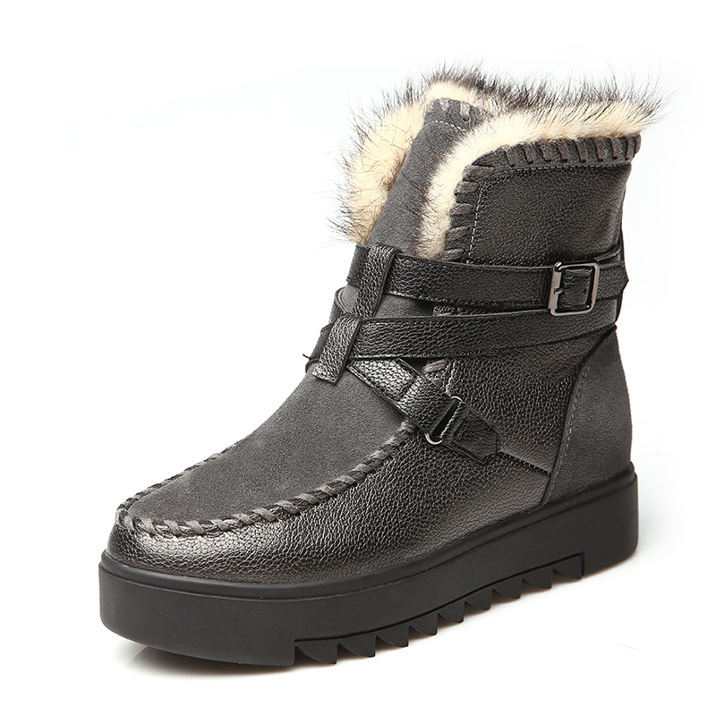 ФОТО Snow boots women's short tube genuine leather thick bottomed boots new winter shoes Korean students flat cotton shoes