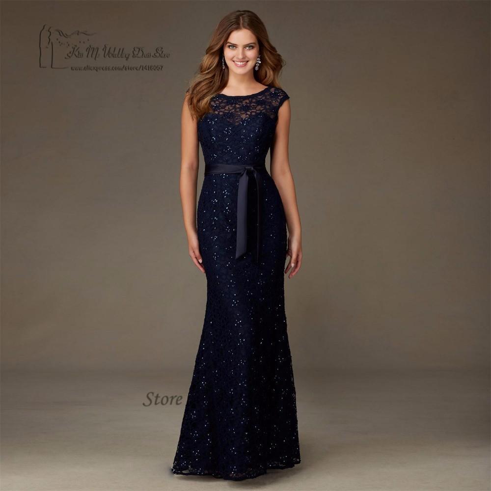 56c4c793a20 High Quality Navy Blue Lace Sequin Bridesmaid Dresses Long V Back Wedding  Guest Dress Gowns Floor Length Vestido Madrinha