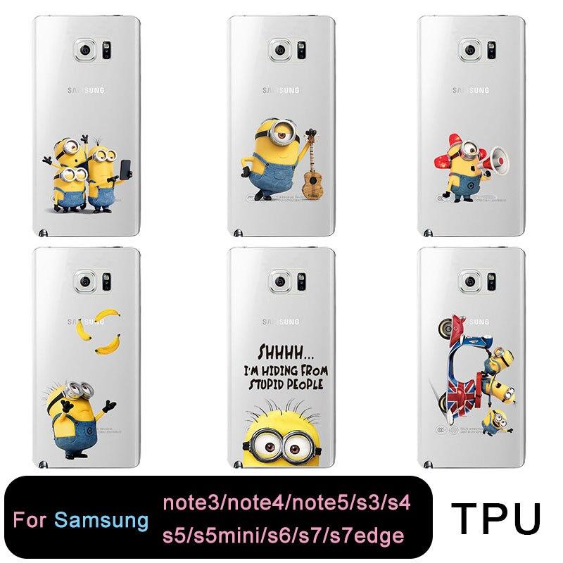 ТПУ Ясно чехол для телефона для Samsung S8 S6 S7 Edge S4 S5 S3 C5 C9 милый я Миньон желтый Бесплатная доставка для Samsung Note3 note4 note5