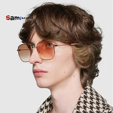 Samjune Men Hexagonal Flat Lenses Aviation Sunglasses Brand