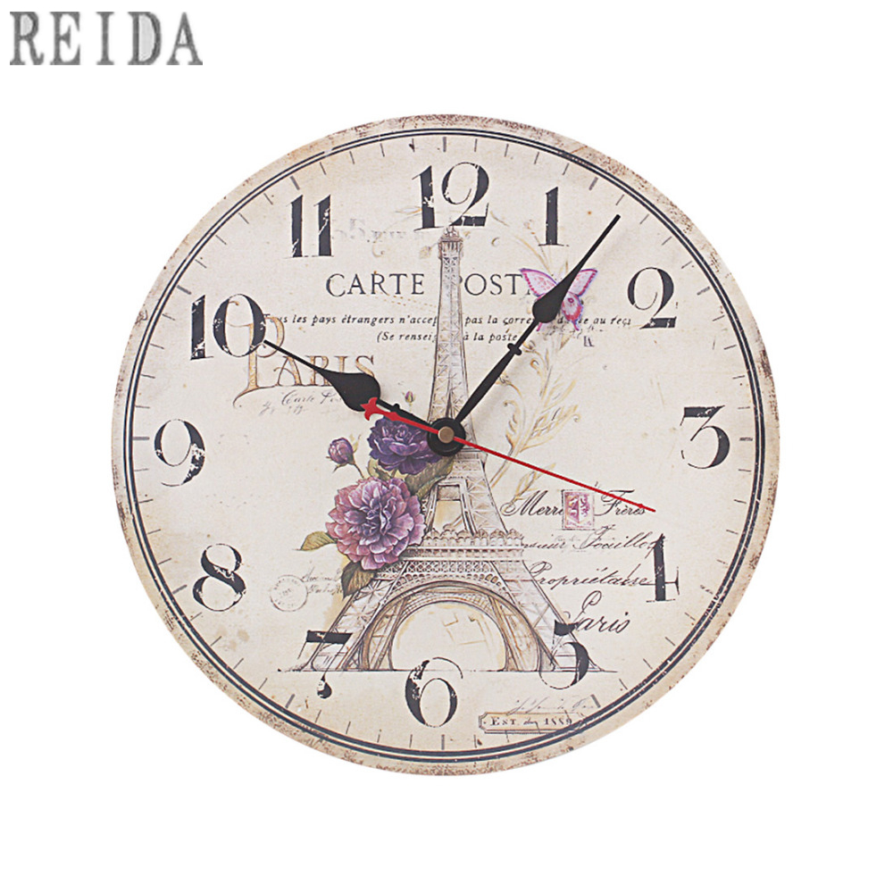 12 Inch Vintage Rustic Country Tuscan Style Silent Wooden Wall Clock Home Decor - Europe