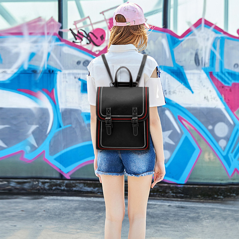 2019 Women Hot PU Leather Backpacks Candy Color Waterproof School Bags for Teenagers Girls Laptop Backpacks Sewing Backpack in Backpacks from Luggage Bags