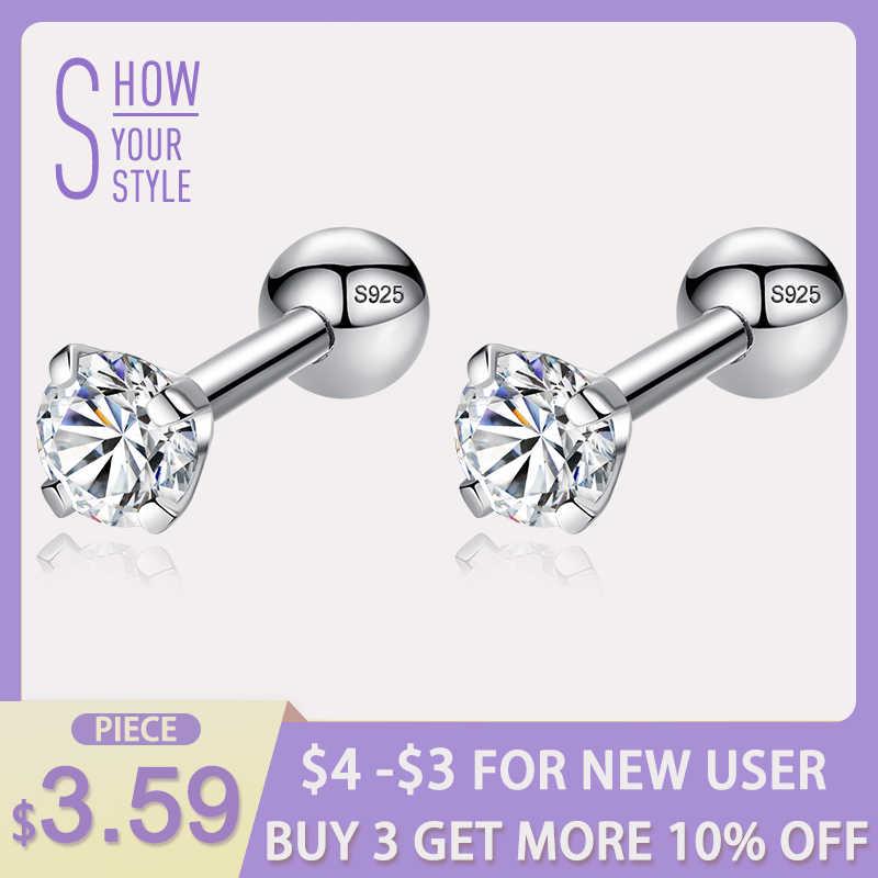 d06d730da ELESHE CZ AAA Zircon Crystal Round Small Stud Earrings Wedding 925 Sterling  Silver Earring for Women