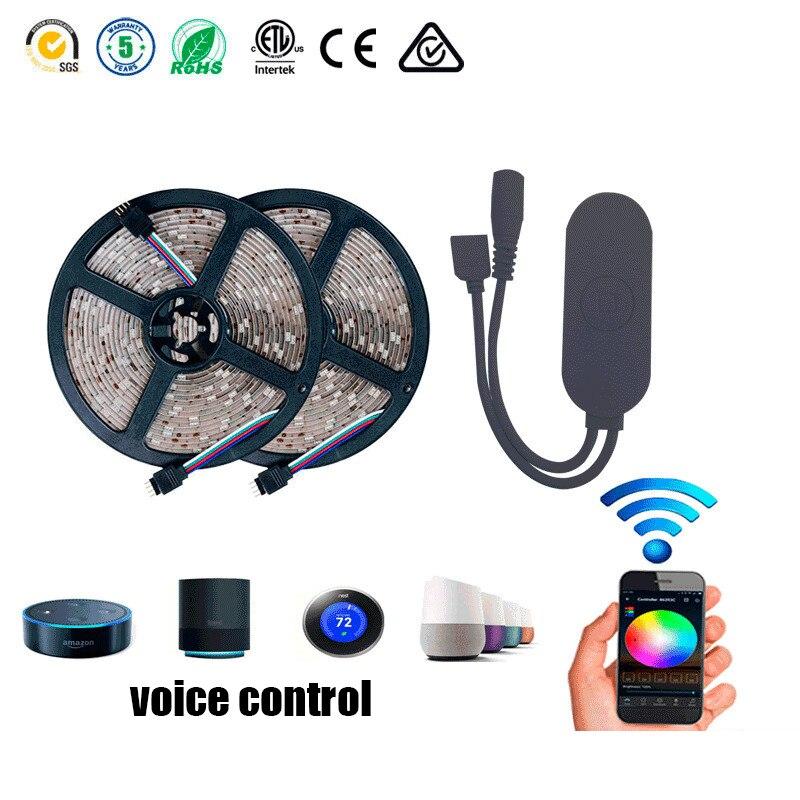 LED bande lumière 5 M 300 LED s 5050 RGB intégré IC lumière LED Intelligent Wifi APP Intelligent téléphone contrôle avec télécommande Flexible