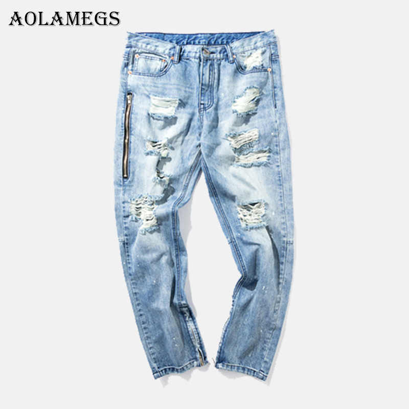 Aolamegs Biker Multi-zipper Ripped Jeans For Men Holes Pants Mens Selvage Skinny Jeans Baggy Brand Denim Cotton Trousers Fashion 2017 fashion patch jeans men slim straight denim jeans ripped trousers new famous brand biker jeans logo mens zipper jeans 604