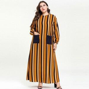 Islamic Abaya Ramadan Daftan O Neck Loose Style Plus Size Muslim Dress in Dubai Turkish Clothing Stripe Pockets Patch Robe 4XL