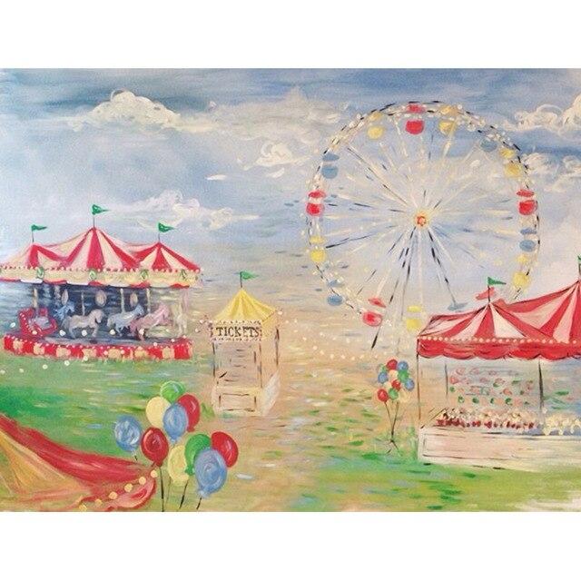 Toile de fond de photographie de parc de peinture à l'huile d'oxford imprimé arrière-plans de fête de bébé d'enfants pour le Studio de Photo
