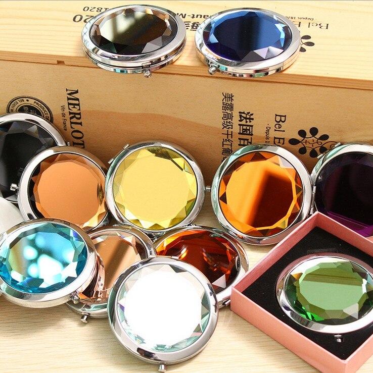 10PCS / Lot 10 farver indgraveret kosmetisk kompakt makeup spejl krystal forstørrelse make up spejl bryllup gave til gæster