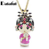 Emaille Peking Peking-oper Ethnische Puppe Halskette Chinesischen Wind Kristall Lange Halsketten Anhänger Für Frauen Geschenk SCHMUCK-X612