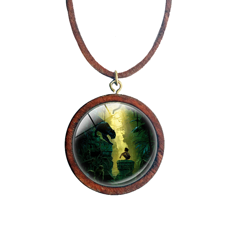 Collection Original Cute The Jungle Book Wood Vintage Glass Photo Necklace Bagheera Black Leopard Animal Anime Pendant Jewelry