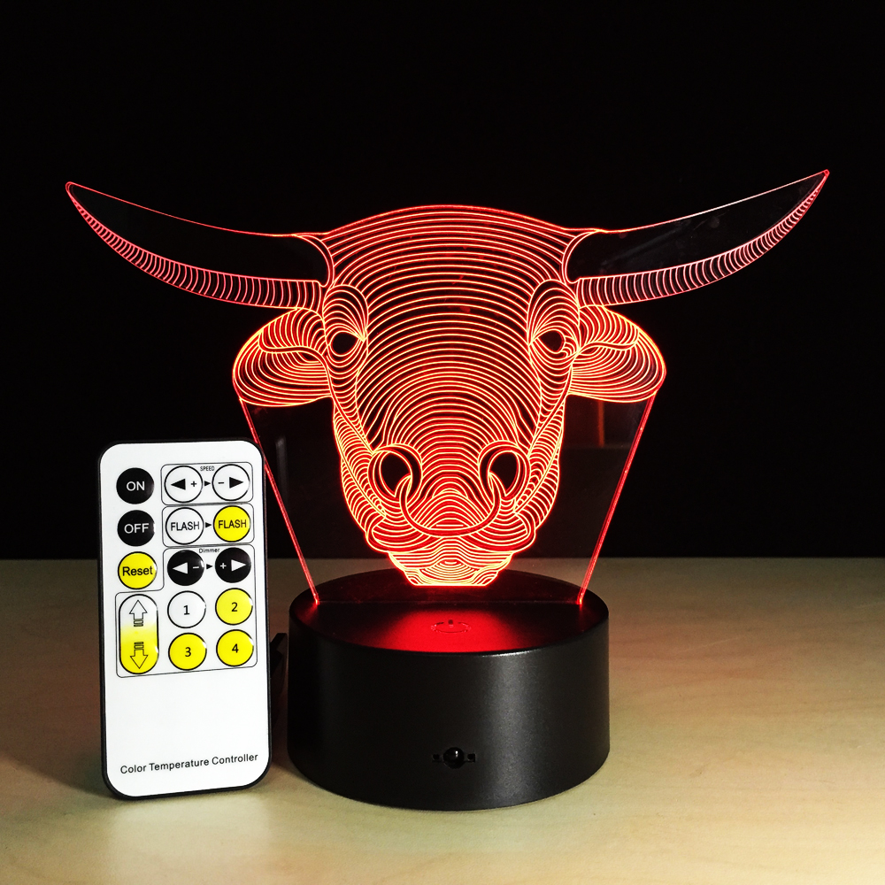 Bulls 3D Night Light Acrylic 7 Colorful Gradient Atmospher Touch Or Remote Control Birthday Creative Cartoon Gift For Children