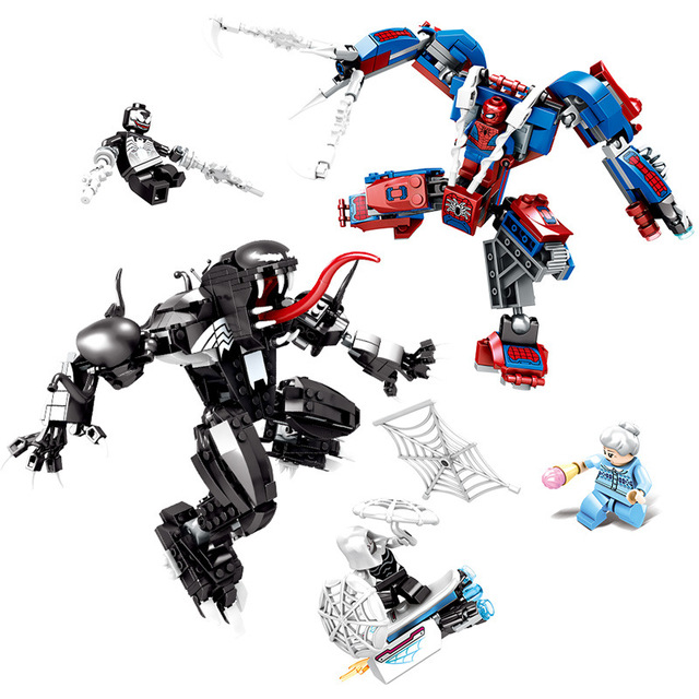 Vingadores Marvel 671 Pcs Surpresa: Final Superhero Spiderman e Veneno Mecânica Bloco de Construção de Tijolos Brinquedos Compatível com es