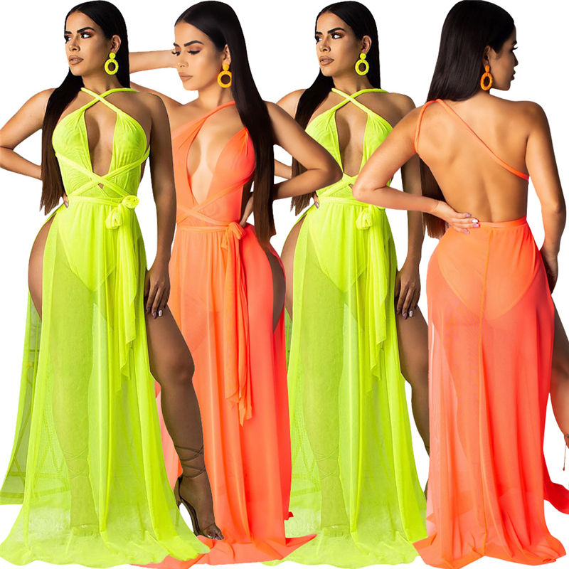 Adogirl Women Sexy Sheer Mesh Maxi Evening Party Dresses Underwear Halter One Shoulder Backless High Silt Summer Beach Dresses in Dresses from Women 39 s Clothing