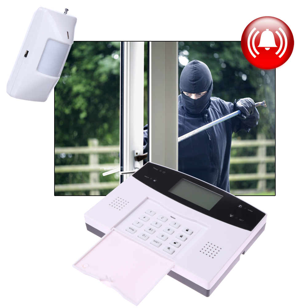 ФОТО LCD Display Home Dual-wire Wireless SMS GSM Alarm Systems House Intelligent Auto Burglar Door Security Alarm System Remote
