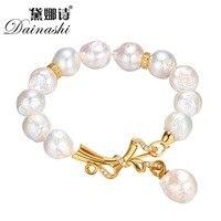 Dainashi Barokke Zoetwaterparels Armbanden Voor Vrouwen Trendy Fijne 12.5-13mm Sieraden Armbanden Met Geschenkdoos Bruiloft Accessoires
