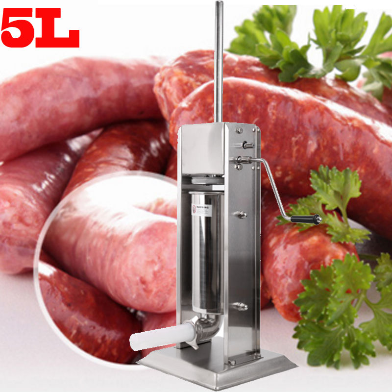 (Ship from Germany) 5L Stuffer Maker Machine Commercial Sausage filling machine sausage stainless steel with 4 filling pipes stainless steel granule weighing filling machine with feeder