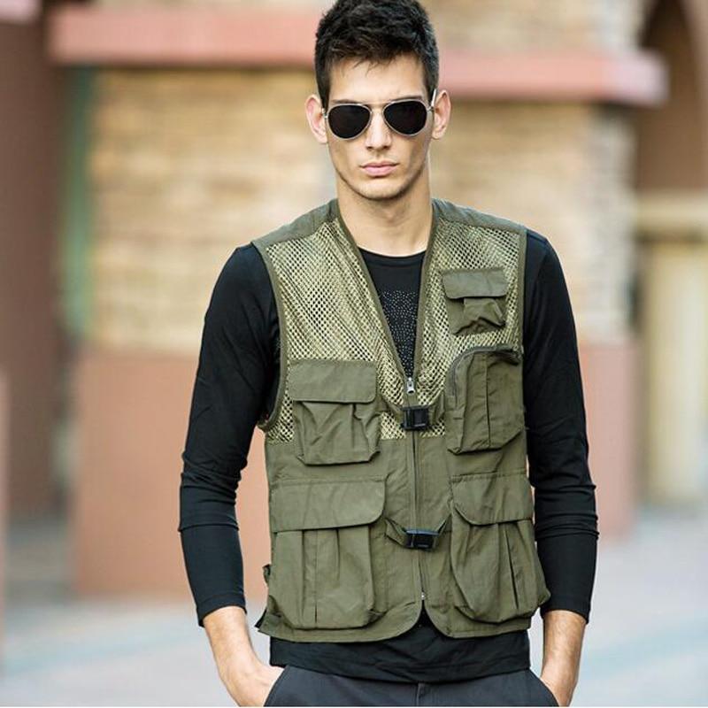 Men Classic Mesh FishingVest M 3XL New Male Casual Thin Breathable Sleeveless Jacket Mens Multi Pocket Reporter Baggy Waistcoat