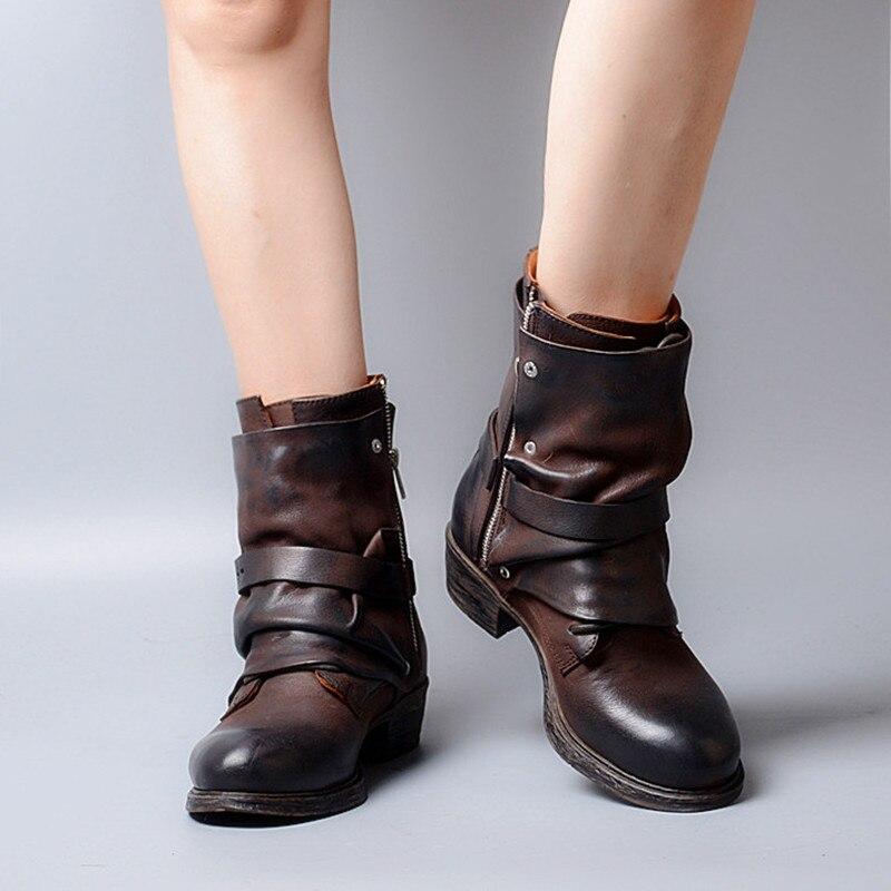 Prova Perfetto جديد وصول الرجعية تصميم مطوي جلد طبيعي خليط امرأة الأحذية مشبك حزام كعب منخفض البريدي أحذية بوت قصيرة-في أحذية الكاحل من أحذية على  مجموعة 2