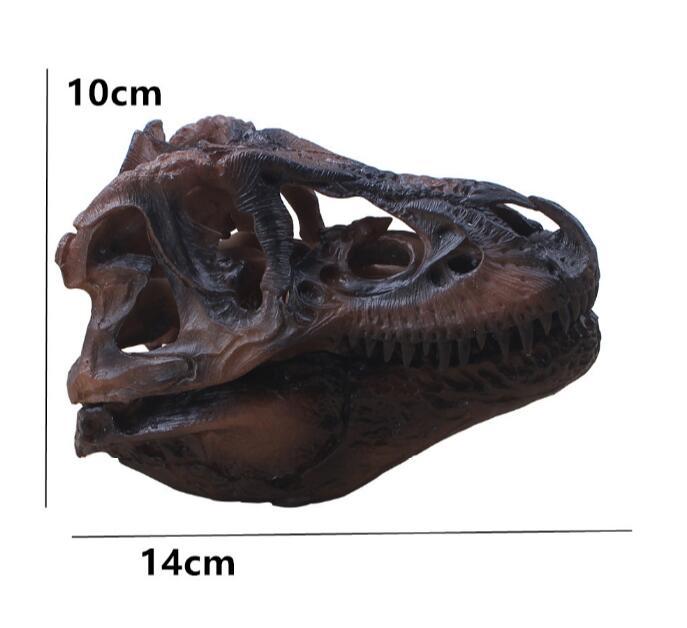 wholesale 14cm Dark grey resin skull split tyrannosaurus head mannequin, reference model, artistic bust,landscaping M01010