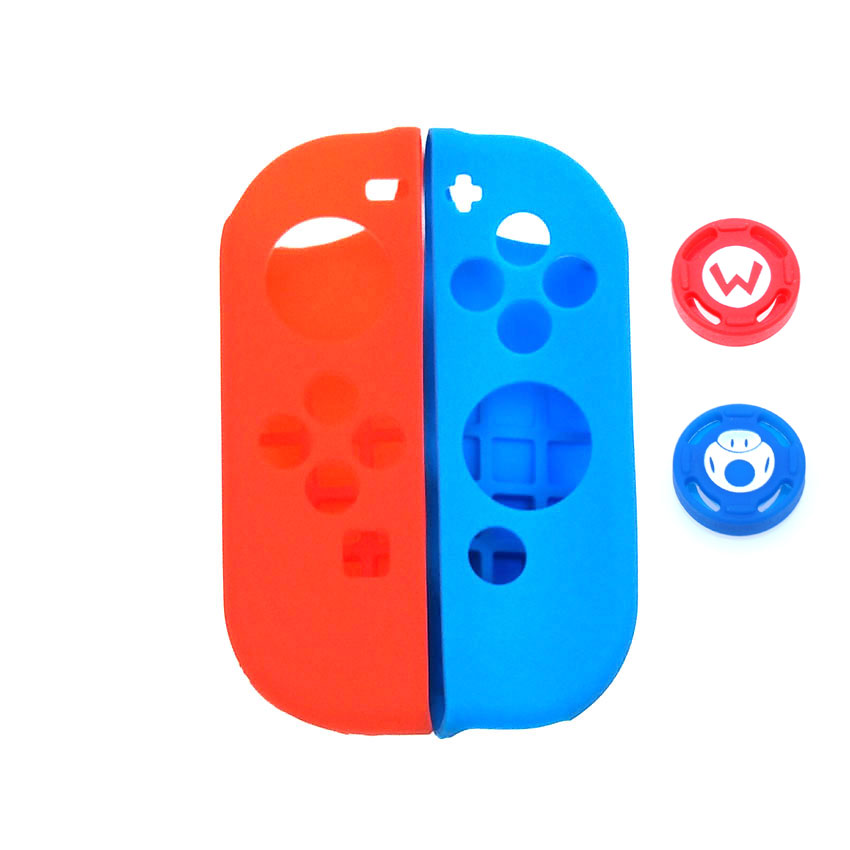 Image 2 - 1 set Soft Silicone Protective Skin Case + 2pcs Controller Grips Joystick Caps Cover for Nintend Switch NS Joy Con Controller-in Cases from Consumer Electronics