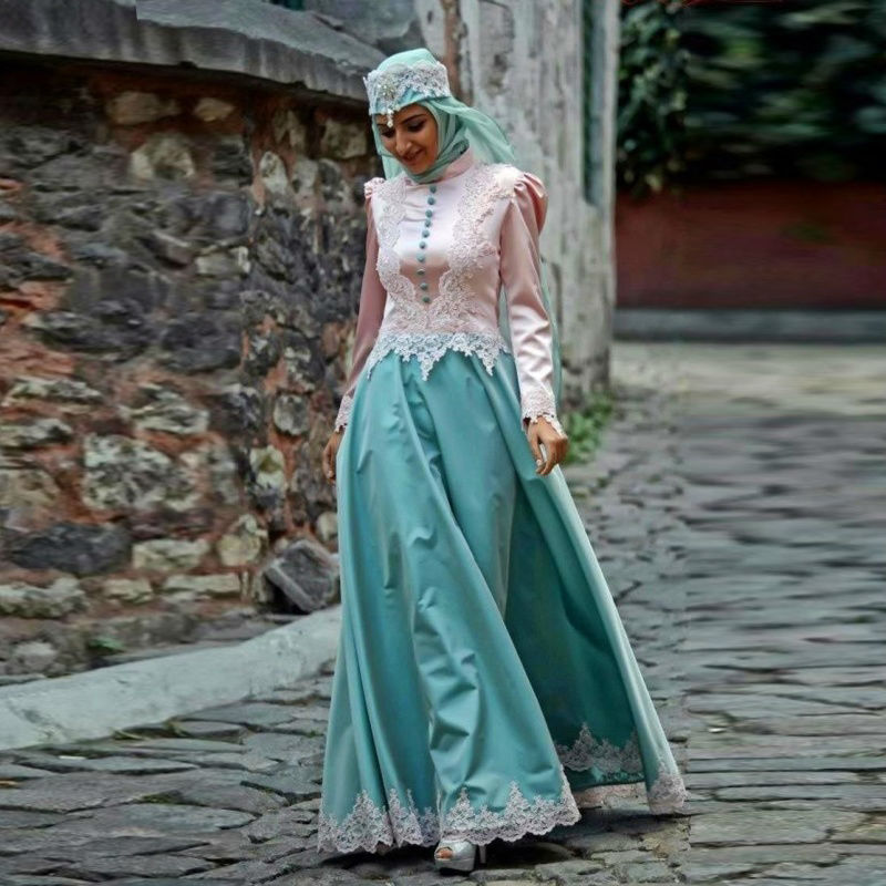 2016 font b Hijab b font Muslim Evening Dress Islamic Abaya Kaftan Formal Long Sleeve Dress