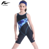 Hot Sale Children Swimwear YOUDIAN Brand New Style Print Patchwork Halter Swimsuit Cute Girl Professional Sport