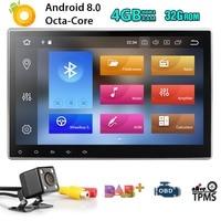 10,1 дюйма 2Din Android 8,0 Универсальный Автомобильный без DVD плеер стерео радио gps навигации WI FI Bluetooth DAB OBD2 TVbox 4 Гб Оперативная память + карта + CAM
