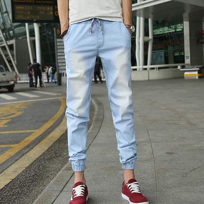 Denim Joggers Mens Light Blue Jean Jogger Pants 2017 New Fashion Waist Drawstring Ankle Length Garment Washed Free Shipping
