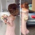 Hot Sheer Long Sleeve Sweetheart Buttons Back Mermaid Bridesmaid Dresses Lace Bridesmaid Dress Light Pink Bridesmaid Dresses