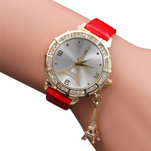 Women Quartz Wrist Watch The Eiffel Tower Rhinestone pendant Wrist Watch Popular relogio feminino Hot ,XL33