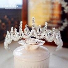 Himstory  Fashion Handmade Beaded Tiara Crown Princess Bridal Wedding Headband Hair Accessories Headpiece Girls Prom Hairwear