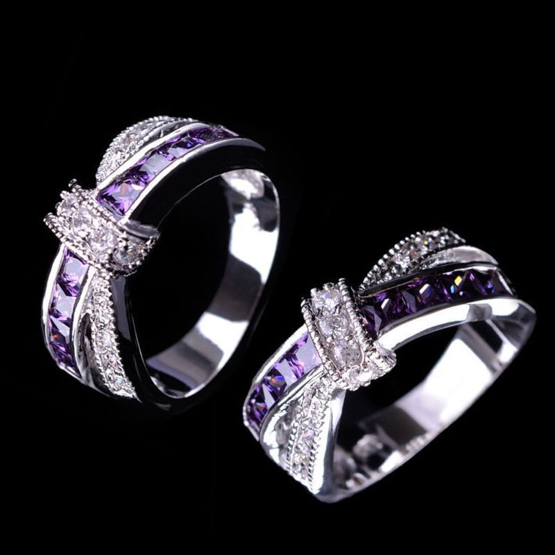 2017 jewelry cross finger ring for lady paved zircon luxury princess women wedding engagement ring purple pink color rings - Discount Wedding Rings Women