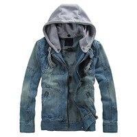 2018 Men's Autumn Winter Denim Long Sleeve Detachable Hoodie Jacket Coat Top Blouse hip hop Sportswear Slim Fit Male Tracksuit