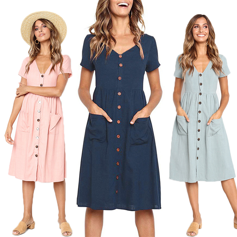Red Blue A Line Casual Dresses Women Summer Dress 2020 Vintage Short Sleeve Dress For Ladies Buttons V Neck Midi Vestidos Female(China)