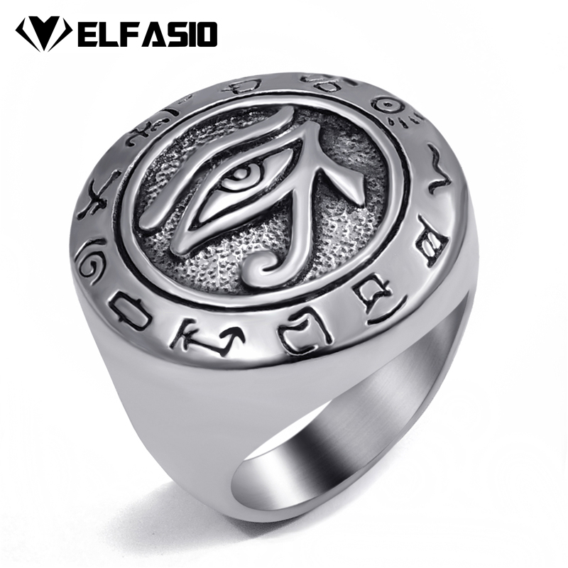 Mens Boys Egyptian Eye of Horus Ra Udjat Talisman Silver Gold Stainless Steel Ring Fashion Jewelry Size 7-15