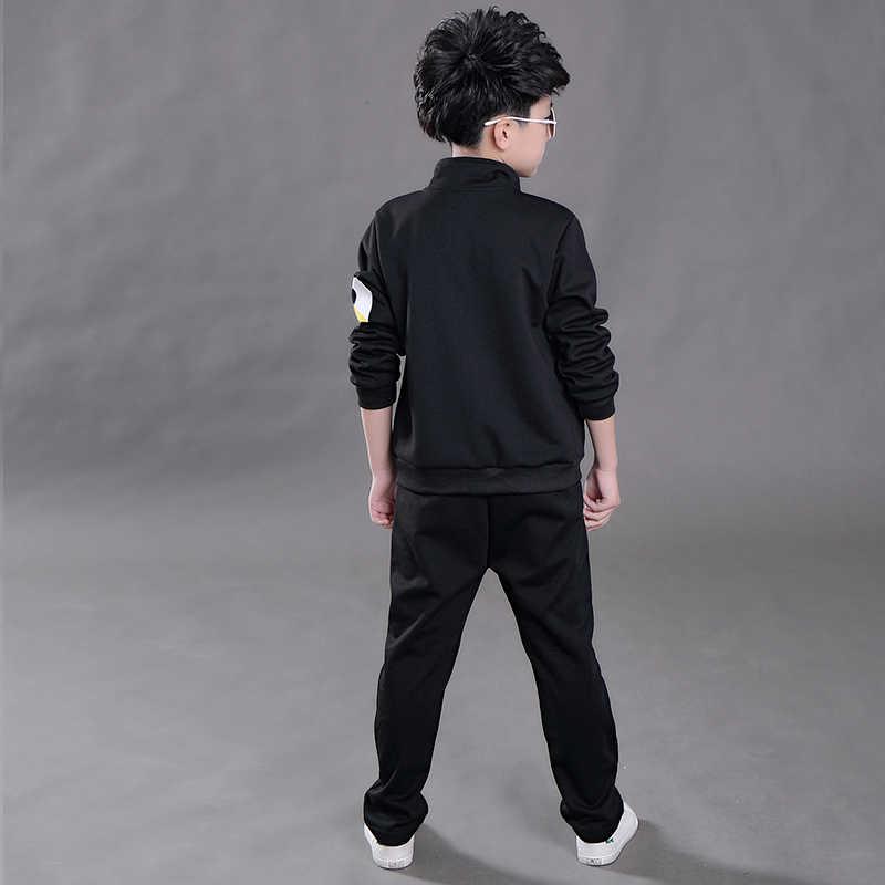 Nieuwe lente 4-13 jr rits jongens katoenen kleding sets tiener sport cartoon kleding school kids 3 stks suits jas + t-shirt + broek