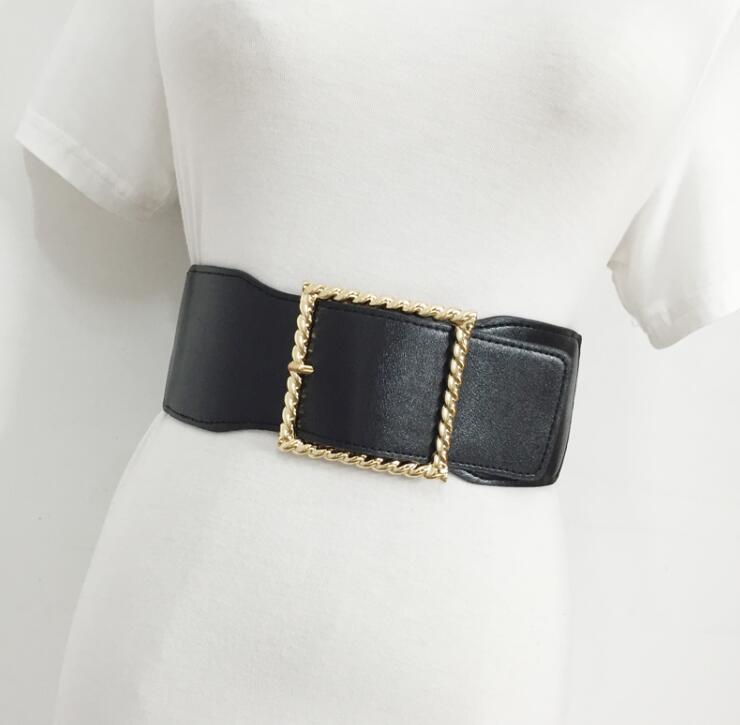 Women's Runway Fashion PU Leather Elastic Cummerbunds Female Dress Corsets Waistband Belts Decoration Wide Belt R1524