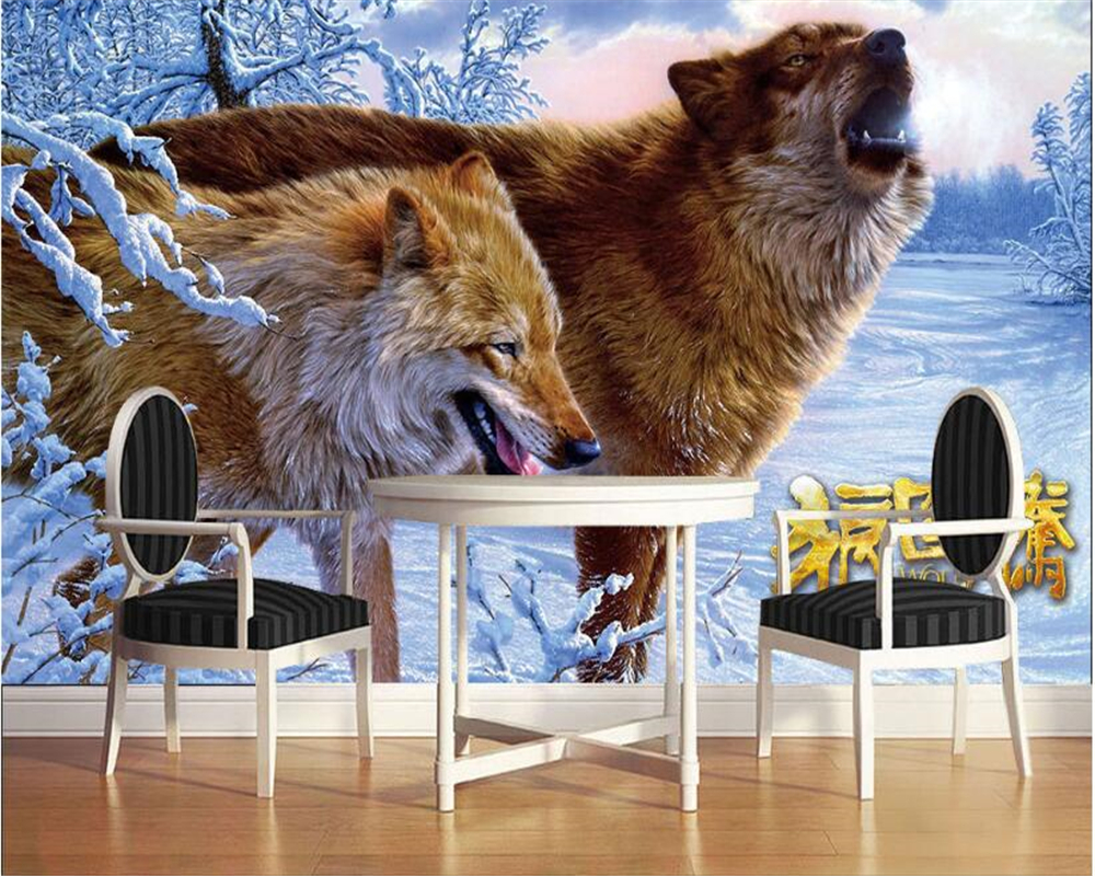 US $8 1 OFF Beibehang Customized High Quality Interior Decoration Painting Wallpaper Ferocious Wolf Mural Background Wall 3d