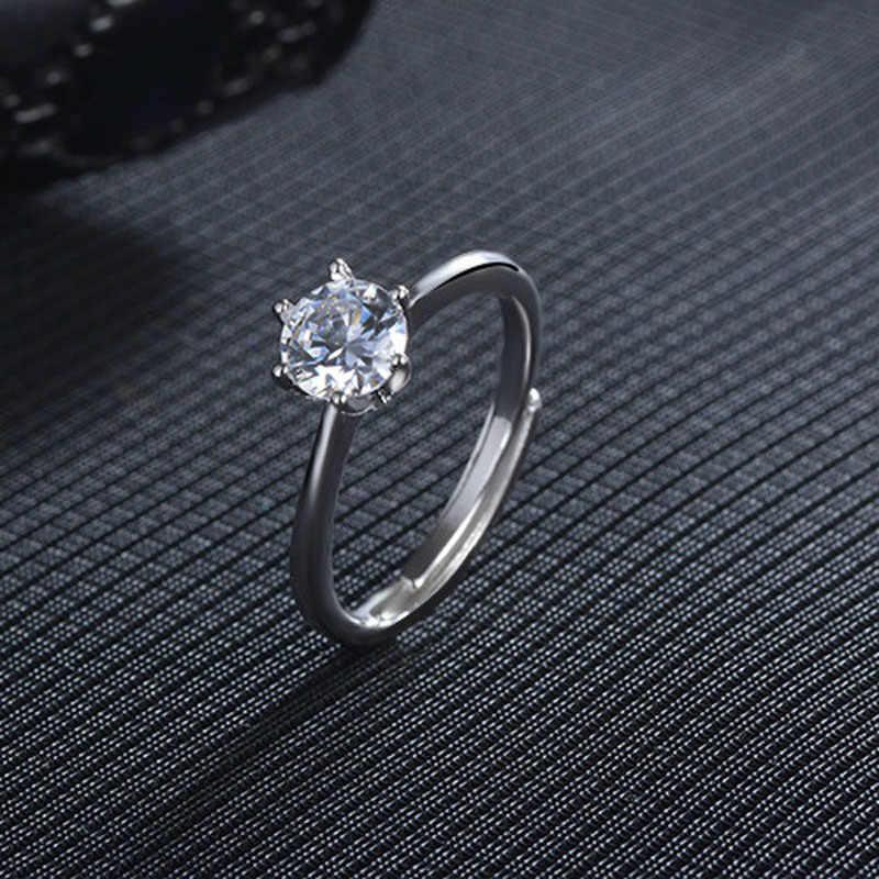 925 стерлингового серебра шесть крапанов Блестящий Цирконий Мода Регулируемый размер кольца для женщин оптовая продажа ювелирных изделий подарок 2017 Новый дизайн Горячая