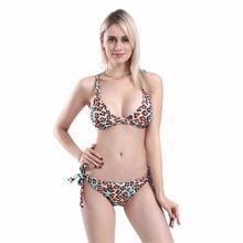2019 Summer Sale Leopard Printed Strap Cross Swimming Suit For Women Bow Bandage Haute Swimwear Sexy Removable Bikinis