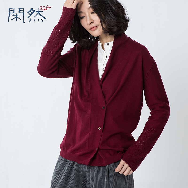 XianRan Autumn And Winter Female New Woolen Solid Color Cardigan V Neck Knit Shirt Slim Short