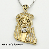 Gold jesus piece Chain Casting Rhinestone stainless steel pendant necklace gold filled crucifix masculino KP1112