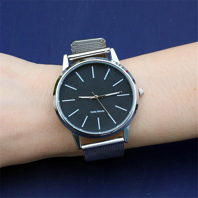 Hot selling women man fashion alloy metal strap silver black quartz wristwatches sports watches Unisex Clock Relogio Masculino
