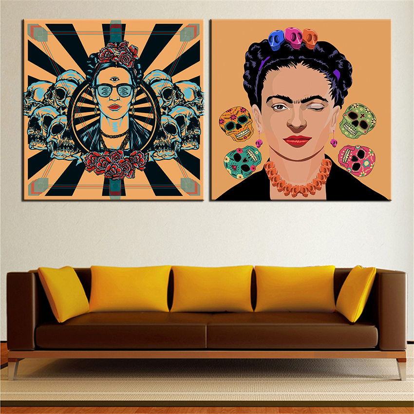 2pcs Print Oil Painting Frida Kahlo Self Portrait Wall