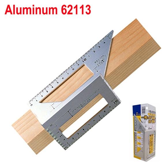 Алюминиевый сплав 45 градусов 90 градусов деревообрабатывающий Многофункциональный квадратный Измеритель угла транспортир над линейкой - Цвет: aluminum 62113