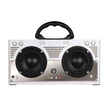 CLAITE W9 Bluetooth Speaker Wireless Portable Outdoor Retro Speaker Classic Dual Loudspeaker 3000mah TF AUX FM Radio Speaker